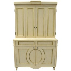 Directoire Neoclassical Style Cream and Gold Distress Painted Cabinet by Decca