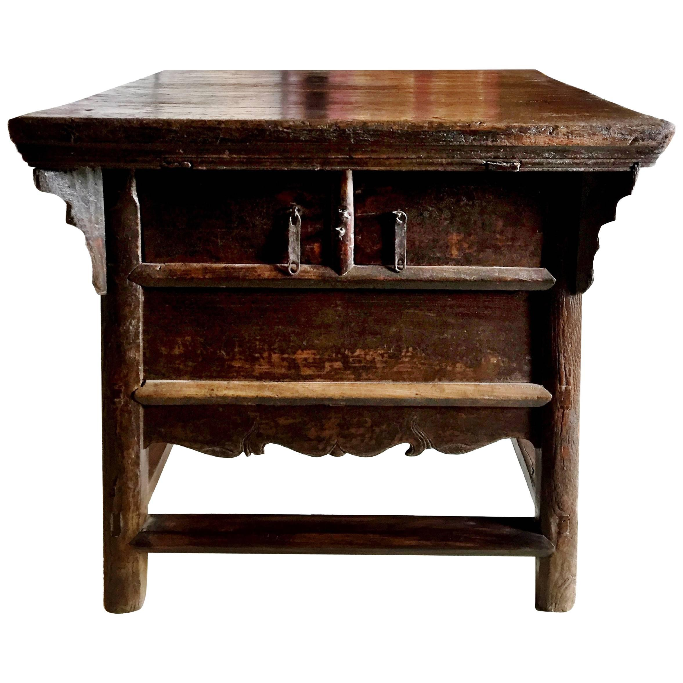 Antique Farm Table, Rustic Chinese Old Farm Table 1