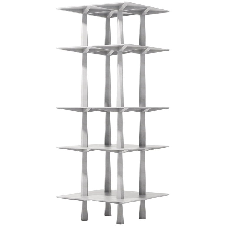 Centina By Oeuffice 2017 TOTEM Shelving Bookshelf In Solid Aluminum For Sale
