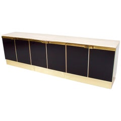 Impressive Brass, Travertine and Black Lacquered Sideboard, 1970s