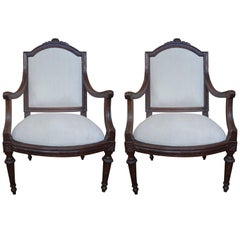 Pair of 18th Century Italian Walnut Armchairs