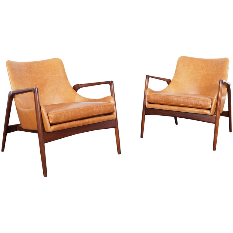 Danish Modern Leather Lounge Chairs by Ib Kofod Larsen 1