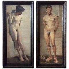 Pair of Framed European Studio Nudes, circa 1900, Oil on Canvas