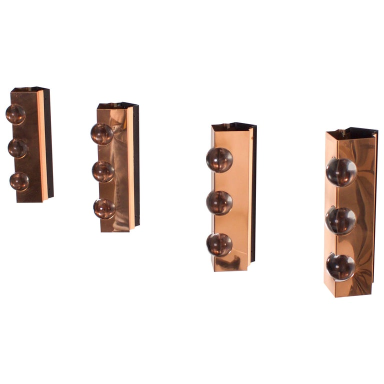 Four Copper Sconces by Verner Schou for Coronell Elektro