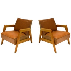 Pair of Maple Wood Framed Lounge Chairs, USA, circa 1960