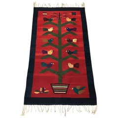 1950s Red Kilim Rug with a Bird and Potted Tree Motif