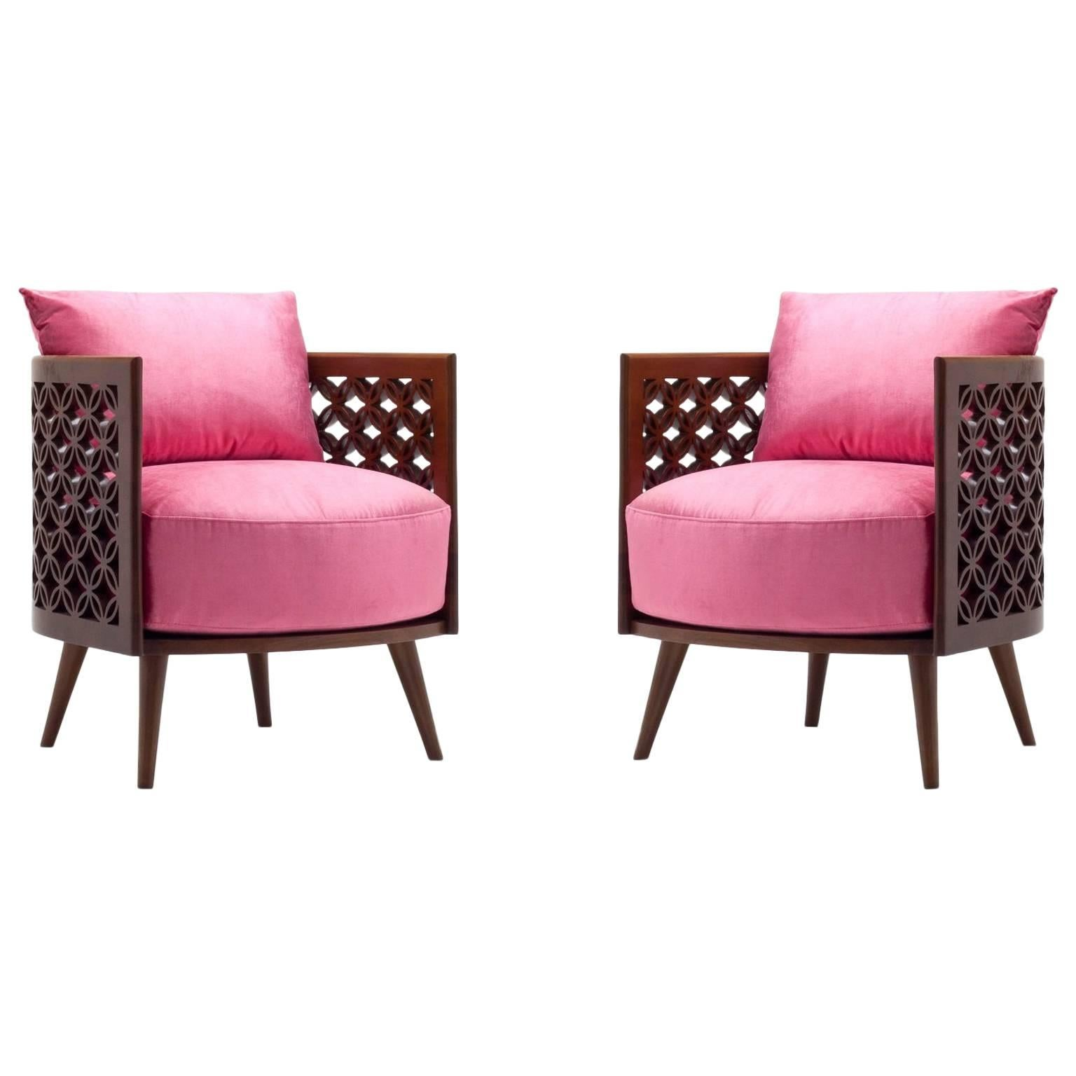 Arabesque Modern Armchairs by Nada Debs, Contemporary Armchair in Walnut