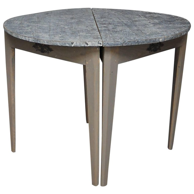 Pair of Swedish Demilune Tables with Marbled Tops