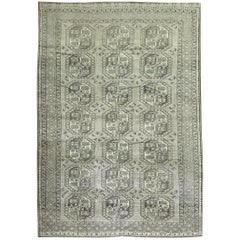 Vintage Ersari Tribal Room Size Rug in Gray and Brown