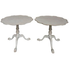 Pair of Swedish Pedestal Tables with Pie Crust Tops