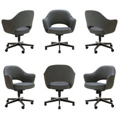 Saarinen Executive Arm Chairs in Textured Charcoal Weave, Swivel Base, Set of 6