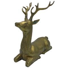 1960s Brass Seated Deer Sculpture