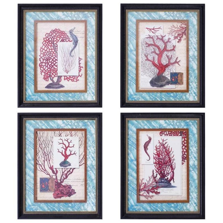 Set of Four Red Coral Prints in Custom Frames
