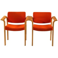 Rud Thygesen and Johnny Sorensen Conference Armchairs in Oak Inc. Reupholstery