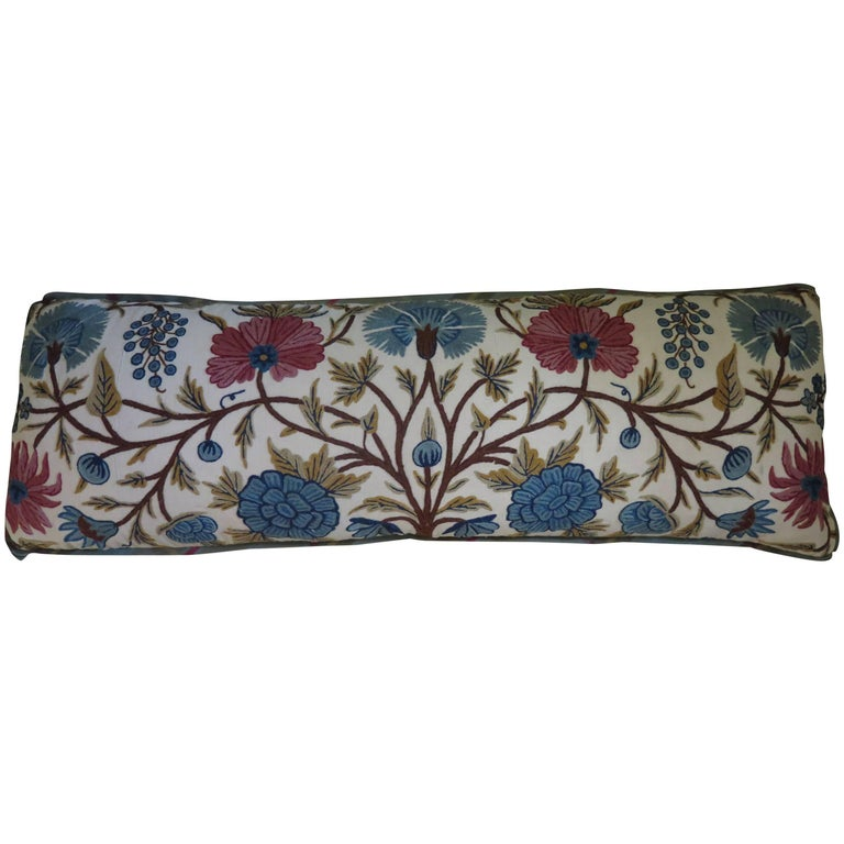 Long Lumbar Crewel Pillow For Sale at 1stdibs