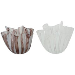 Pair of Venini Fazzoletto Handkerchief Vases