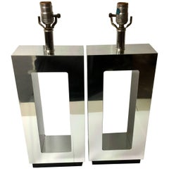 Pair of Mirrored Geometric Table Lamps in the Style of Milo Baughman, 1970s
