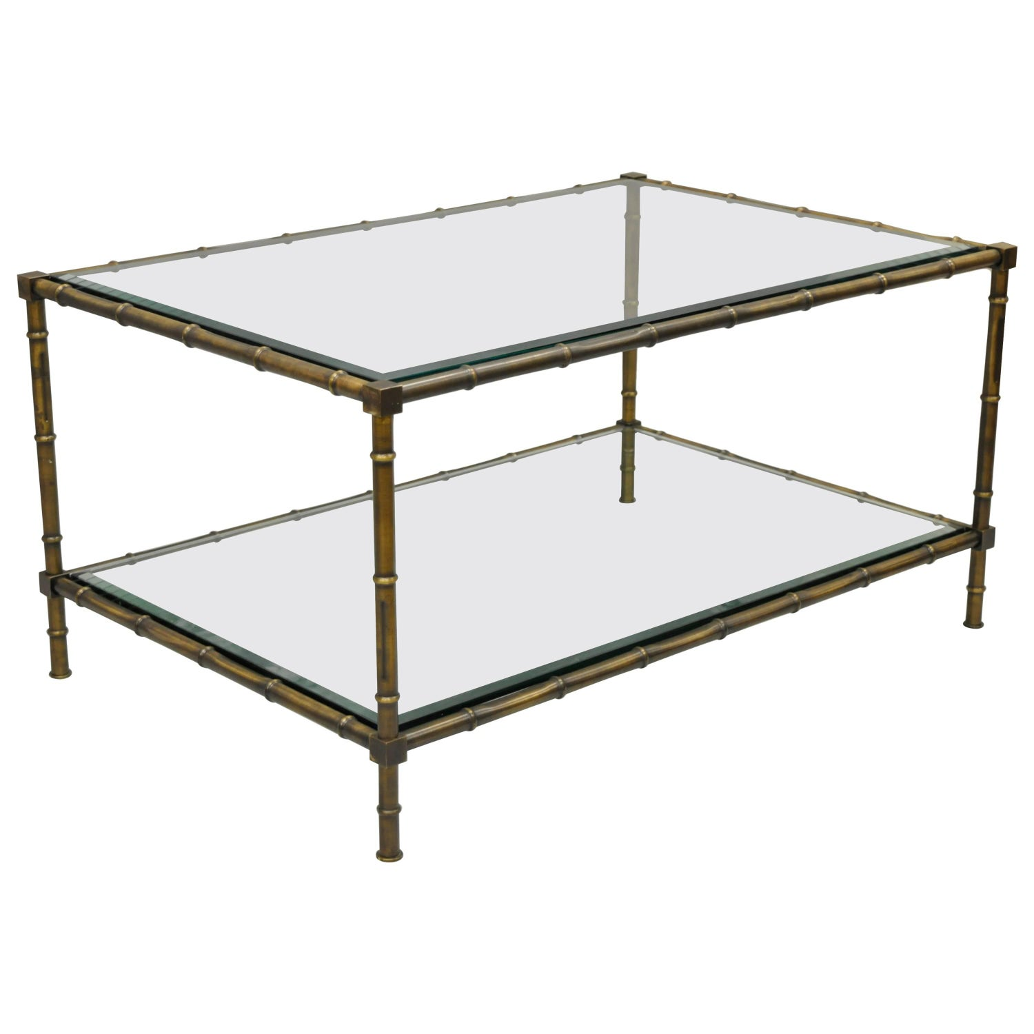 Brass and Glass Faux Bamboo Two Tier Coffee Table French Hollywood