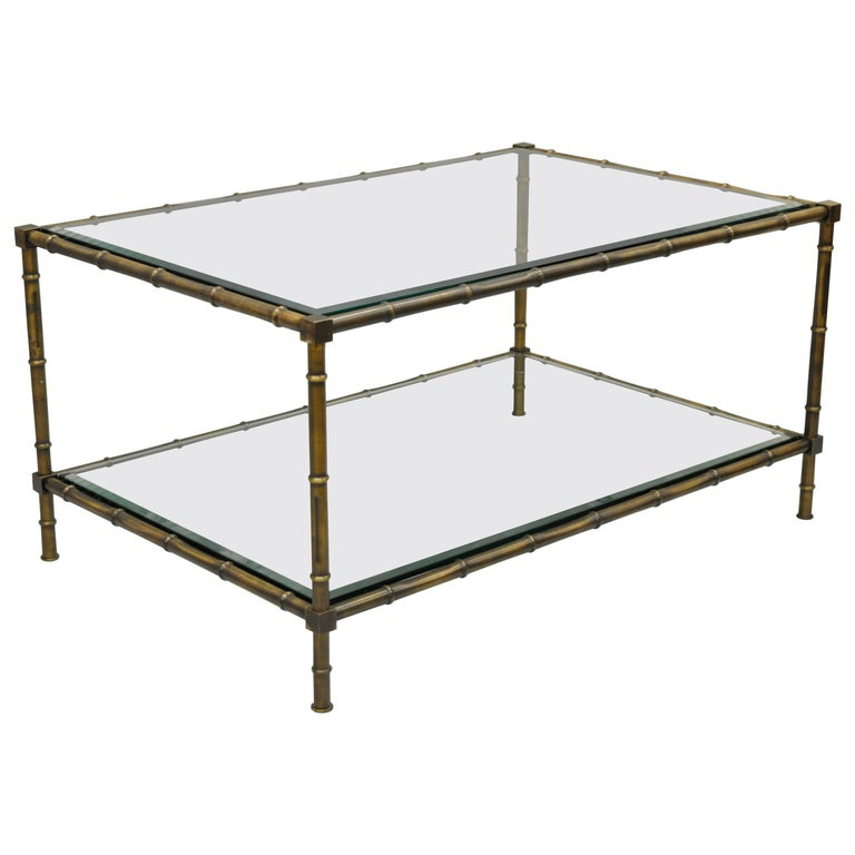 Brass And Glass Faux Bamboo Two Tier Coffee Table French Hollywood Regency Style At 1stdibs