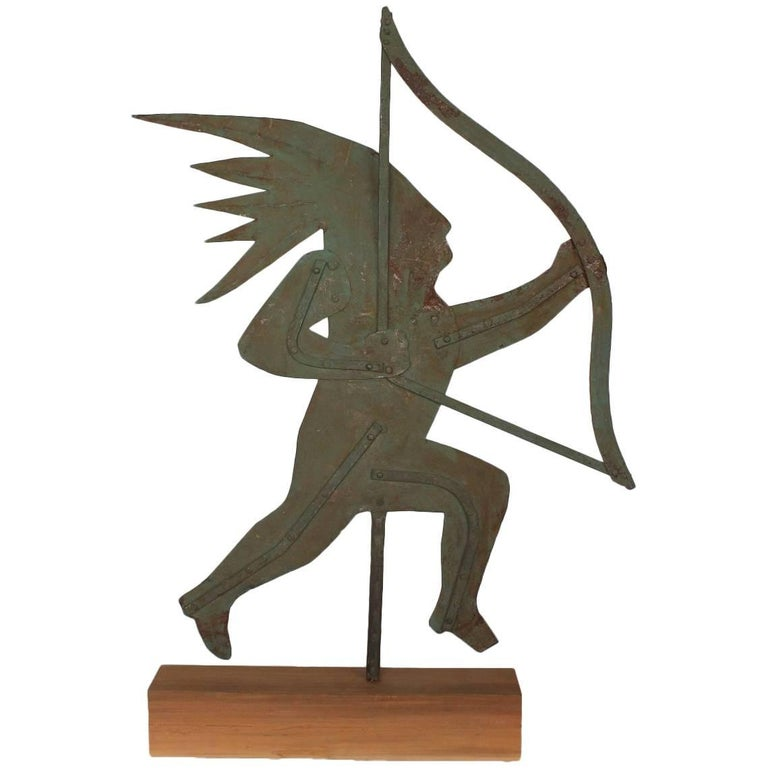 Early 20th Century Silhouette Indian Metal Weathervane