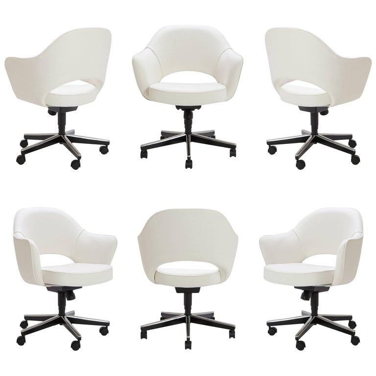 Saarinen Executive Arm Chairs in Ivory Basket Weave, Swivel Base, Set of Six
