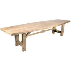Very Large 19th Century Rustic Bleached Oak French Farm Table