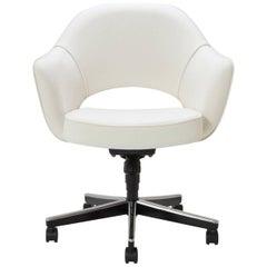 Saarinen Executive Armchair in Ivory Basket Weave, Swivel Base