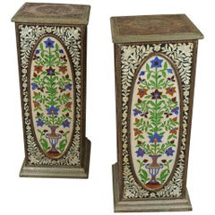 Pair of Pedestals with Glass Flower Medallion