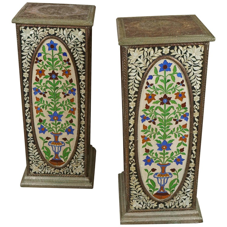 Pair of Pedestals with Glass Flower Medallion  1