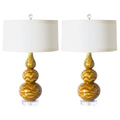 Pair of Danish Marbro Ceramic Glaze Lamps, circa 1960