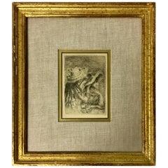 """Le Chapeau Epingle"" by Pierre Auguste Renoir Framed Dry Point Etching, 1894"