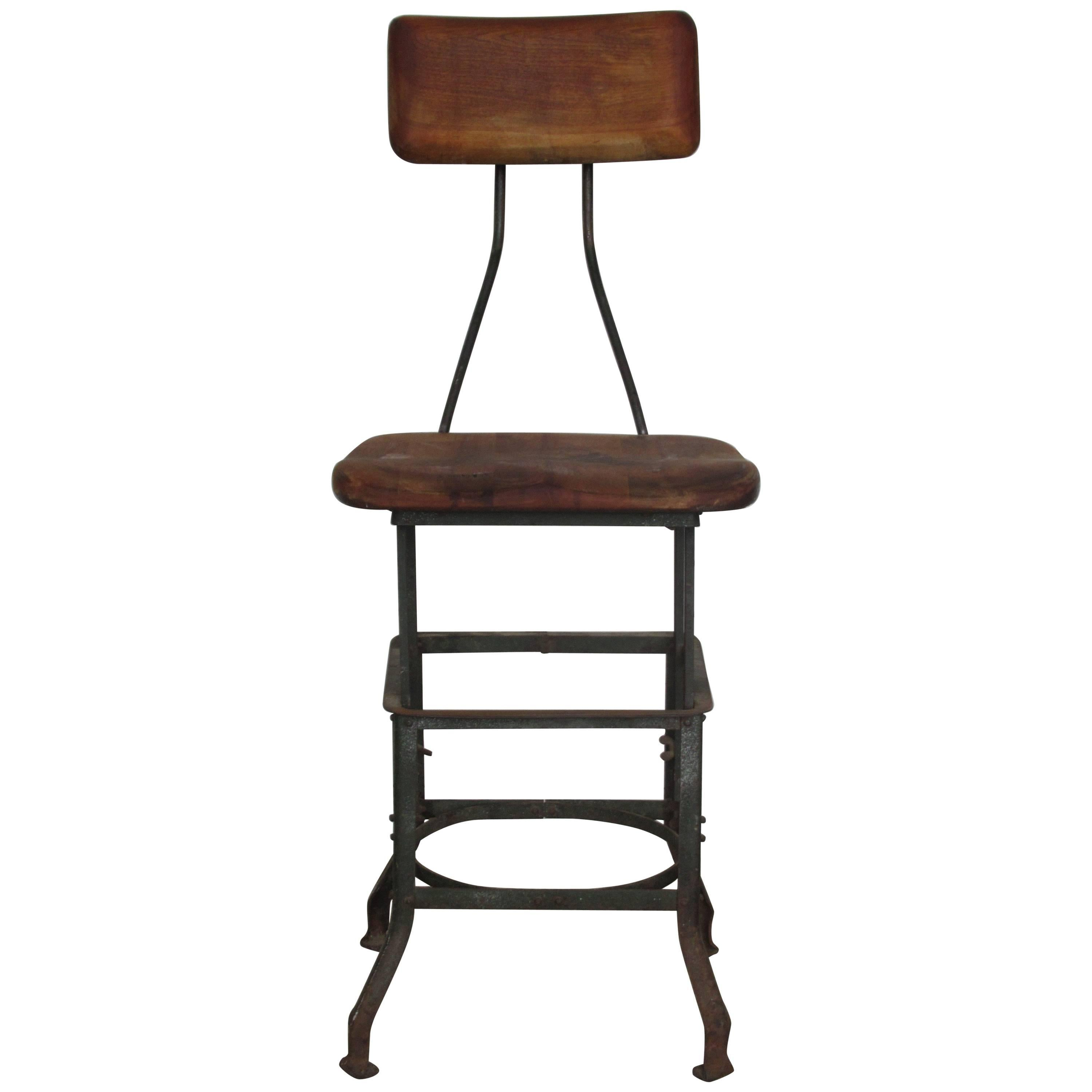 Antique Industrial Task Chair Stool 1
