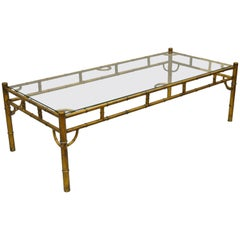 Gold Metal Glass Faux Bamboo Chinese Chippendale Style Rectangular Coffee Table