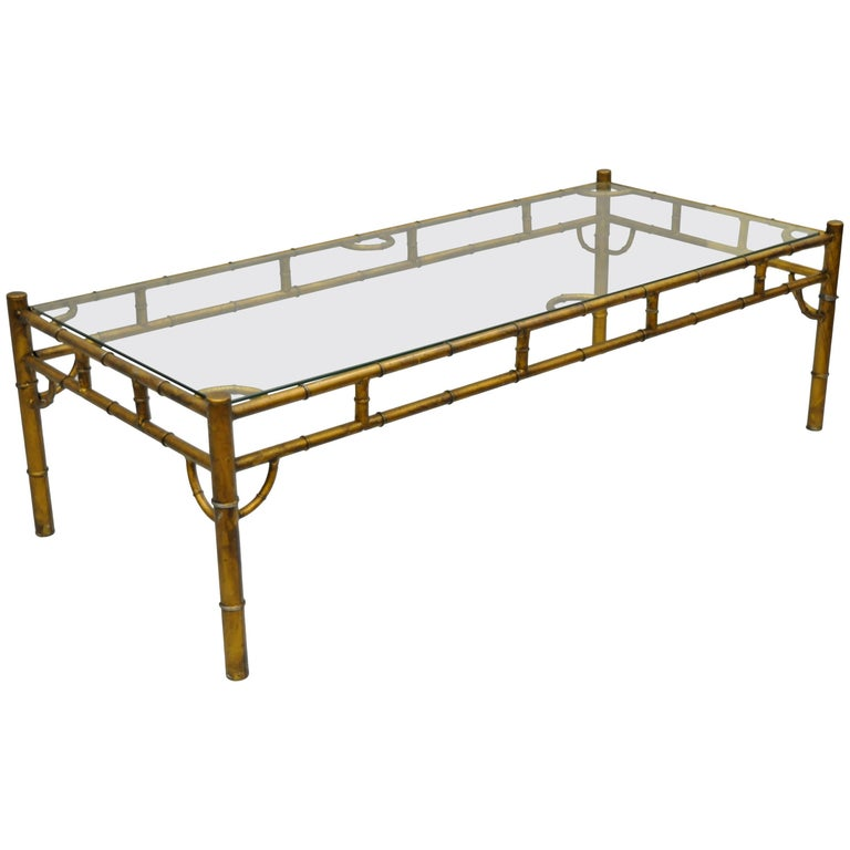 Gold Metal Glass Faux Bamboo Chinese Chippendale Style Rectangular Coffee Table For Sale At 1stdibs