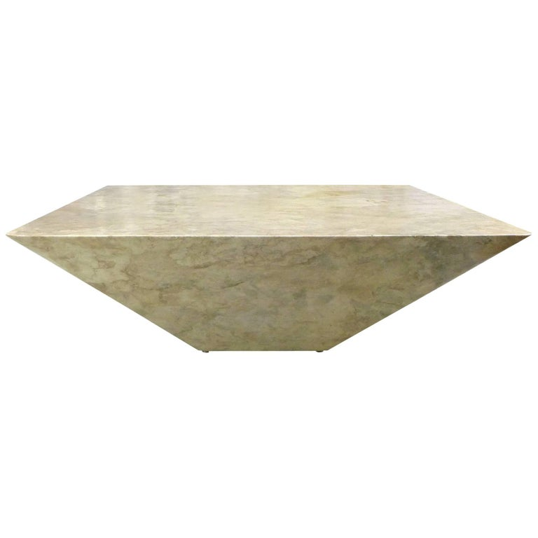 Geometric Faux Marble Coffee Table For Sale At Stdibs - Geometric marble coffee table