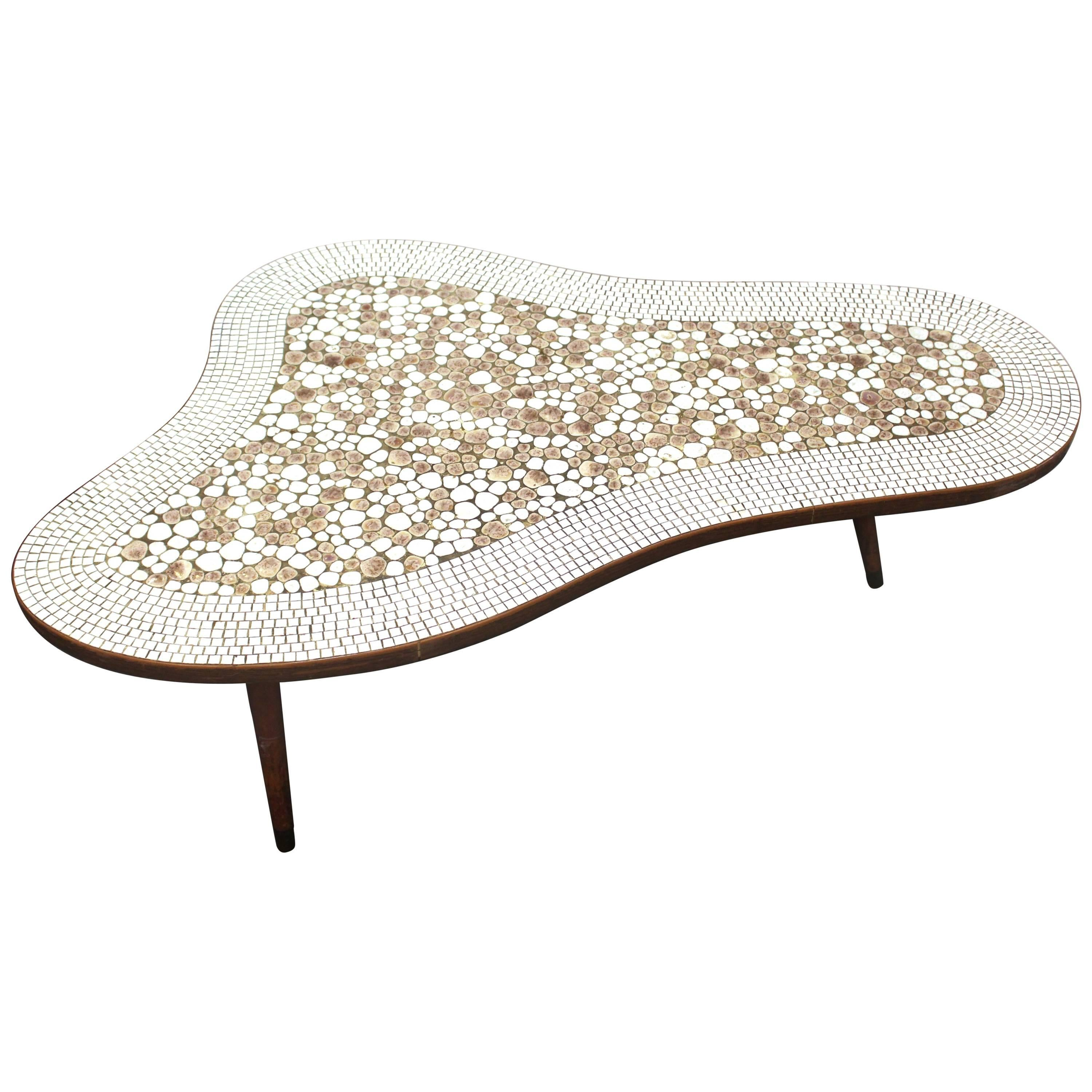 Mid Century Modern Stone Mosaic Top Free Form Coffee Table