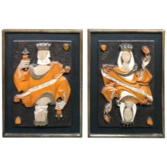 Mid-Century Modern Pair of King and Queen of Hearts Panels