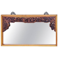 Large Asian Mirror with Antique Carvings