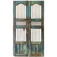 Pair of Painted Gated Doors, India