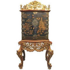 Japonisme Black Lacquer and Gilt Decorated Cabinet on Carved Gilt Stand