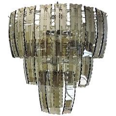 Mid-Century Modern Smoked Glass Chandelier, Fontana Arte Style