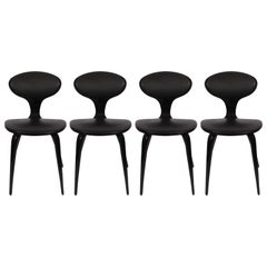 Set of Four Norman Cherner Bentwood Upholstered Black Lacquer Chairs