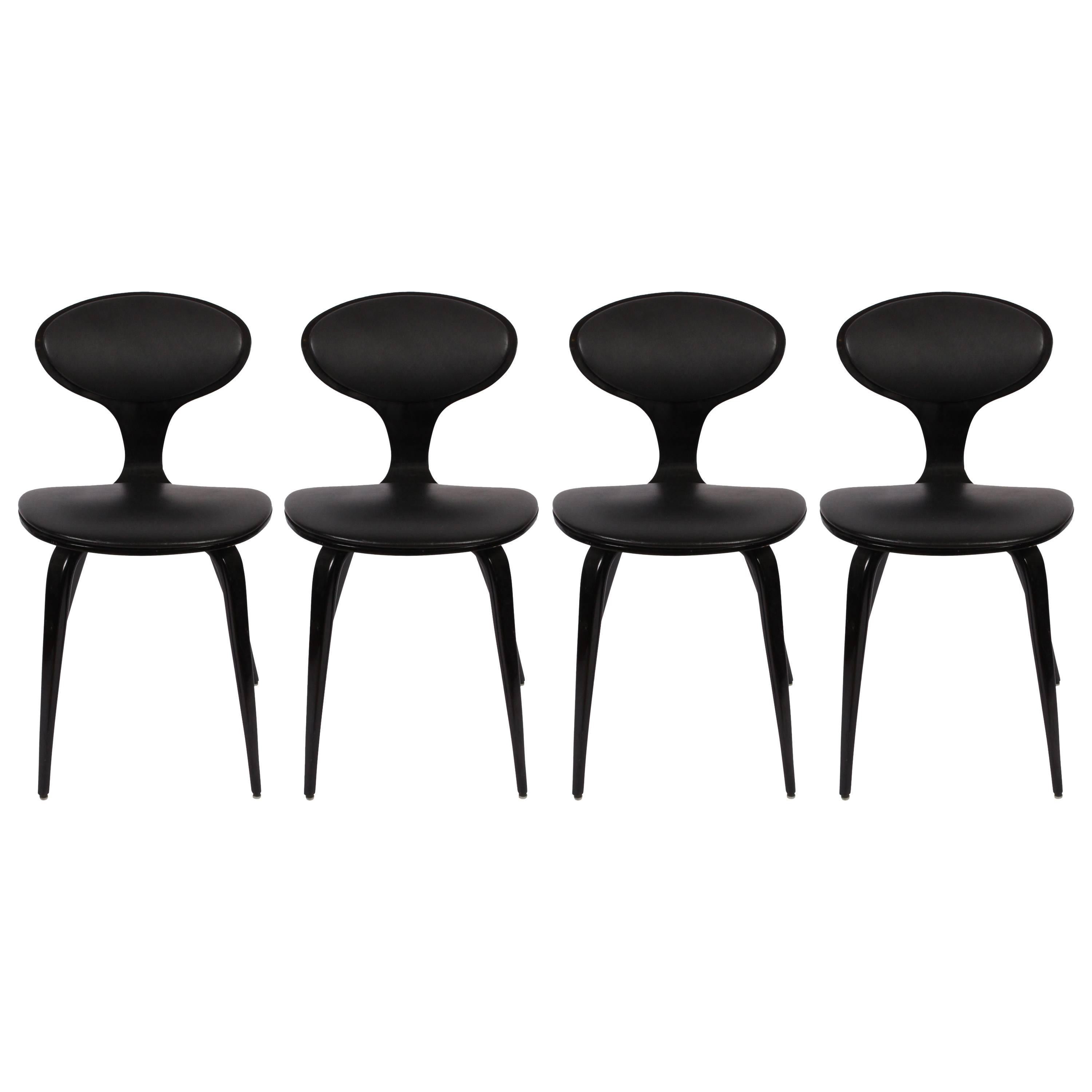 set of four norman cherner bentwood upholstered black lacquer chairs 1