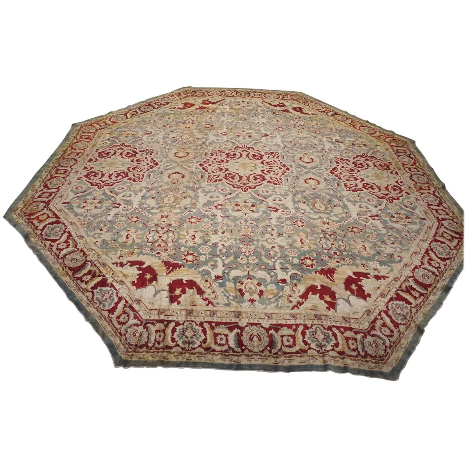 Antique Octagon Shaped Agra Rug, Circa 1880 For Sale