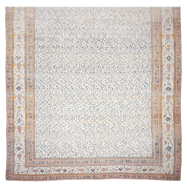 Antique Cotton Agra Rug With Abrash Circa 1900 For Sale: Antique Indian Cotton Agra Rug, Circa 1890 For Sale At 1stdibs