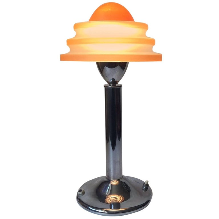 Danish Art Deco Table Lamp 'Fried Egg' in Chrome & Glass, Fog & Morup, 1930s