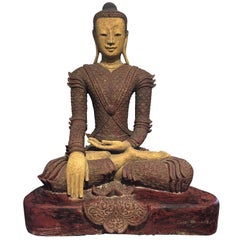Life-Sized Burmese Dry Lacquer Buddha in Royal Attire, Early 20th Century