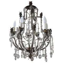 19th Century Italian Beaded Metal Crystal Chandelier with Floral Metal Bobeshes