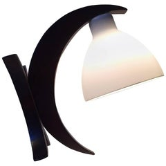 Unusual German Modernist 'Moon' Hybrid Table or Wall Lamp in Oak & Opaline Glass