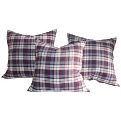 19th Century Plaid Linen Ticking Pillows